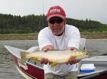 Ed Margola with his best Brown Trout on the day. - Bow River Hookers - Bow River Fly Fishing Guide and Outfitter