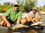 Paul Tiwana and his friend from Texas with a double-header. - Bow River Hookers - Bow River Fly Fishing Guide and Outfitter